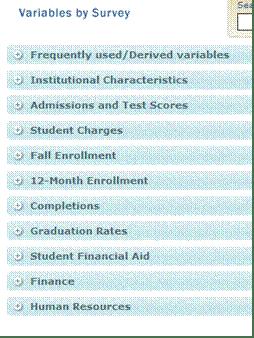 Variable Category menu