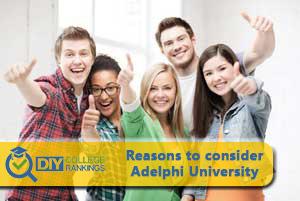 students happy about Adelphi University