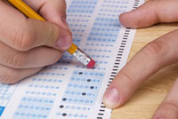 Erasing a mistake on a test representing test optional colleges