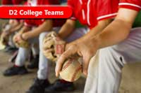 D2 College Teams players on a bench