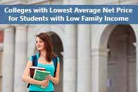 sttudent representing average net price for families with low income