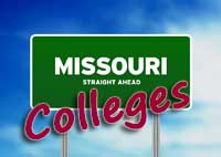 Highway sign for Missouri colleges