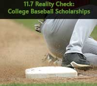 Baseball player sliding representing 11.7 Baseball Scholarships