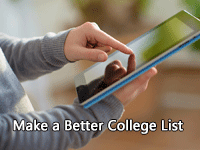 person using table to make a better college search list