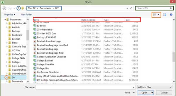 Excel opening file dialog box