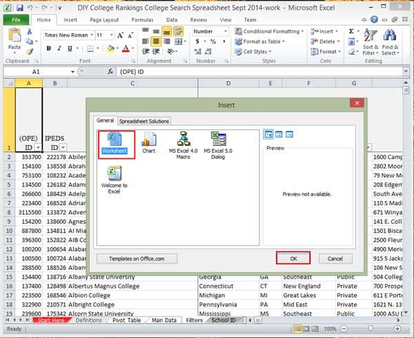 Excel insert dialog box