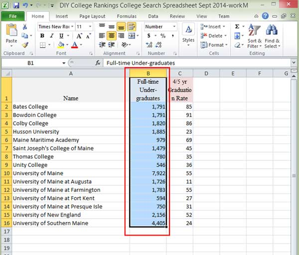 selecting data for calculation in Excel