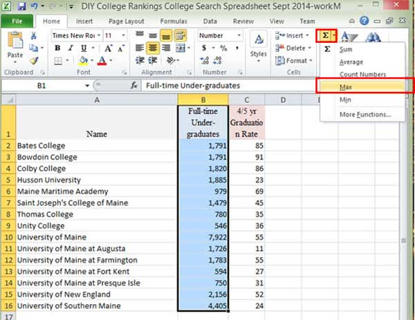 Select max value in Excel