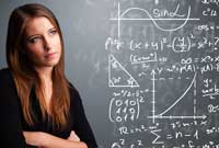 girl with equation to calculate chances of getting a college athletic scholarship
