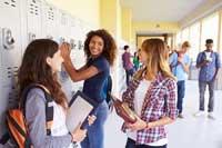 happy high school students