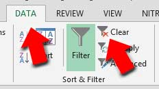 Clear data filters in Excel