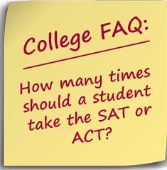 Post-it Note asking How many times should a student take the SAT or ACT?