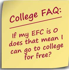 Post-it note asking If my EFC is 0 does that mean I can go to college for free?