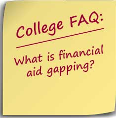 Post-it note asking What is financial aid gapping?