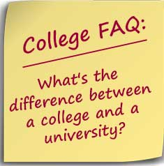 Postit Note asking What's the difference between a college and a university?