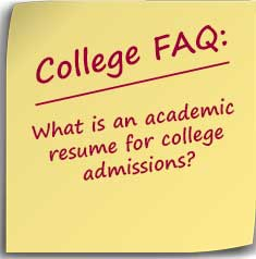 what is an academic resume for college admissions do it