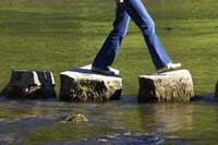 person walking on stones representing steps to a smarter college list