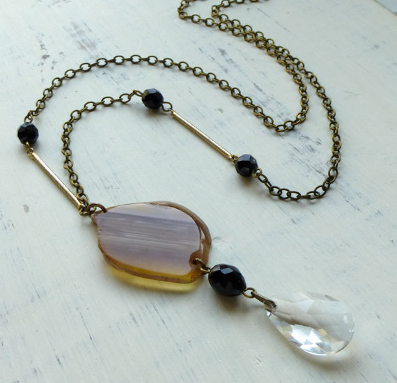 Asymmetrical Crystal Drop Necklace with Agate Slice and Black Glass Beads by VintageMusings