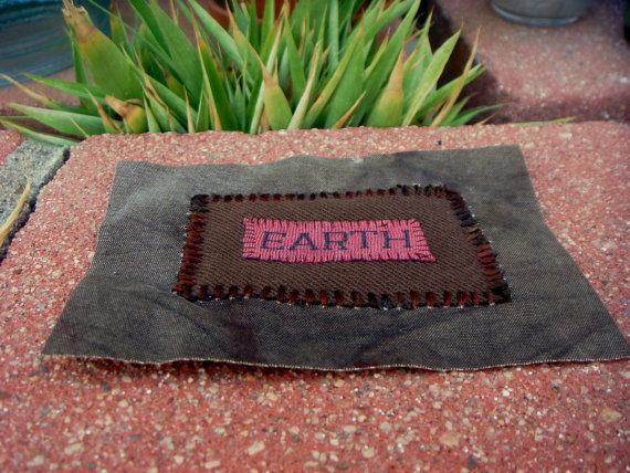 EARTH elemental patch from recycled materials / stitched collage apllique, badge by bitsandblurbs