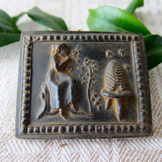 BEEKEEPER Lady with Hive and Bees Cast BLACK BEESWAX Primitive Very Detailed Ornament by MagpieJane