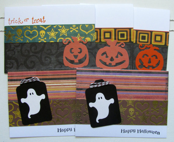 Halloween Notecards – Handmade Blank Notecards – Mixed set of 5 by Stuffbysteph77