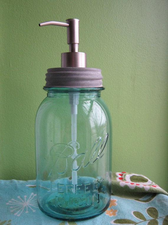 Blue Mason Ball Quart Jar Upcycled Soap Dispenser by FoundBeautyStudioArt