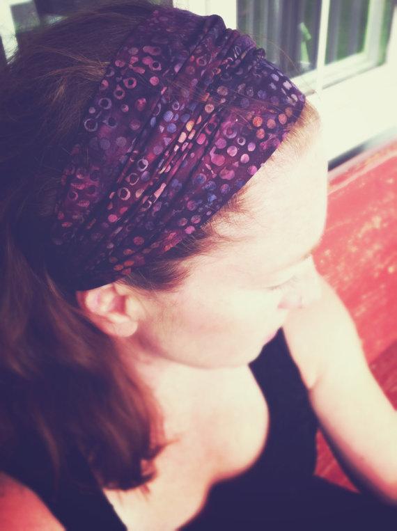 Gypsy Wrap by Julie Bartel, Wine Bubble Batik Headband, size M – yoga headband, dreadlock wrap, bandana, handmade in the USA by juliebartel