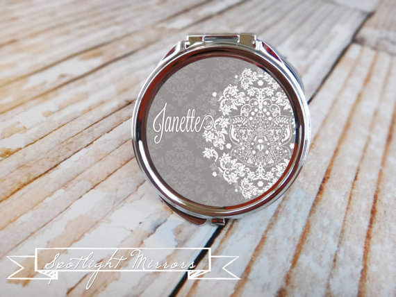 Bridesmaid Gift – Personalized Compact Mirror – Vintage Lace Damask in Steel Gray by SpotlightMirrors