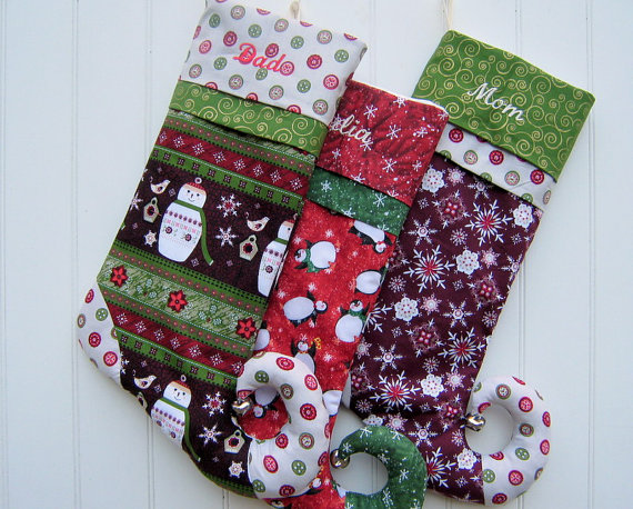 Handmade Christmas Stocking Elfin Toe Stocking Personalized Your Choice Of Eleven by bungalowquilts