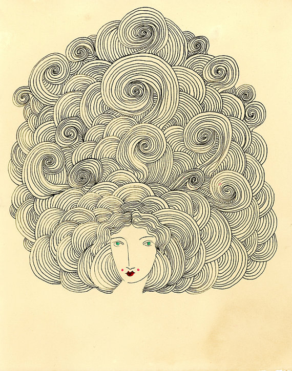 Tower of Power-Big Hair, Hair drawing, Archival Print by ValerieGalloway