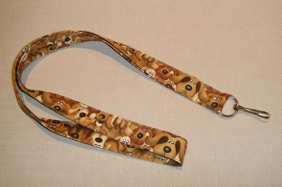 Brown Dogs – handmade fabric lanyard by doodlebugquilts