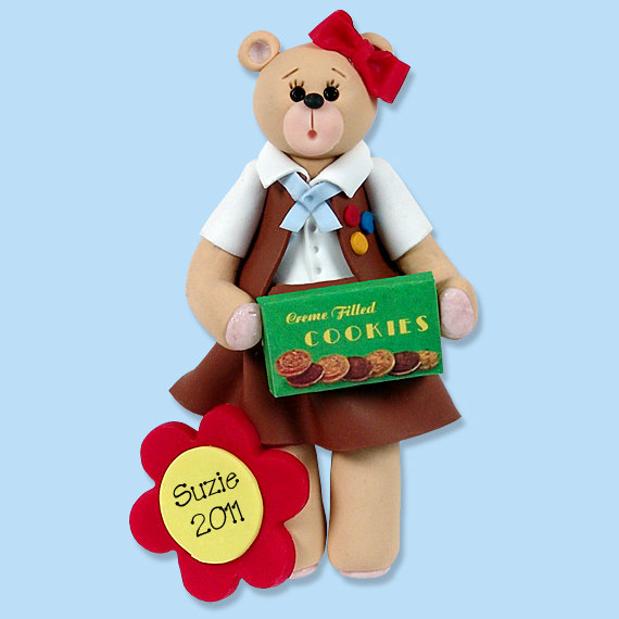 Brownie Belly Bear Polymer Clay Personalized Christmas Ornament by PersonalizedOrnament