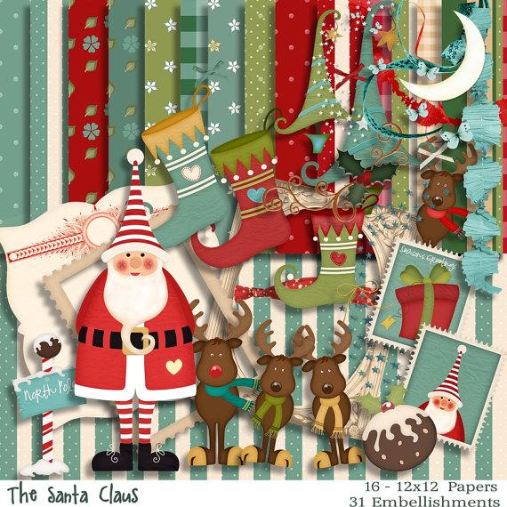 Scrapbook Kit – The Santa -Christmas Kit – Digital Christmas Scrapbook Kit by DigitalPaperCraft