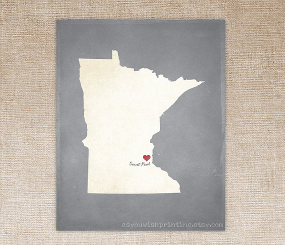 Customized Minnesota 8 x 10 State Art Print, State Map, Heart, Silhouette, Aged-Look Print by AsYouWishPrinting
