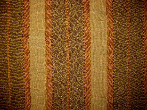 Ethnic Tapestry Chenille Stripe Harden Designer Fabric Sample Earth Upholstery by fabricsamples