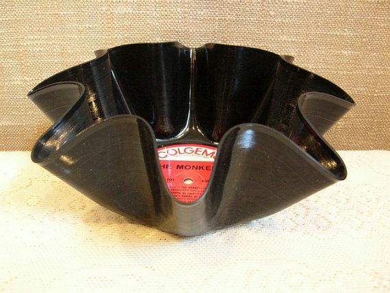 Monkees Record Bowl Made From Recycled Vinyl Album, Davy Jones Micky Dolenz by CraftySueShop