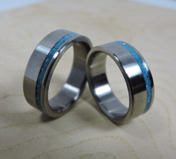 Wedding Ring Set Titanium and Turquoise Titanium Ring
