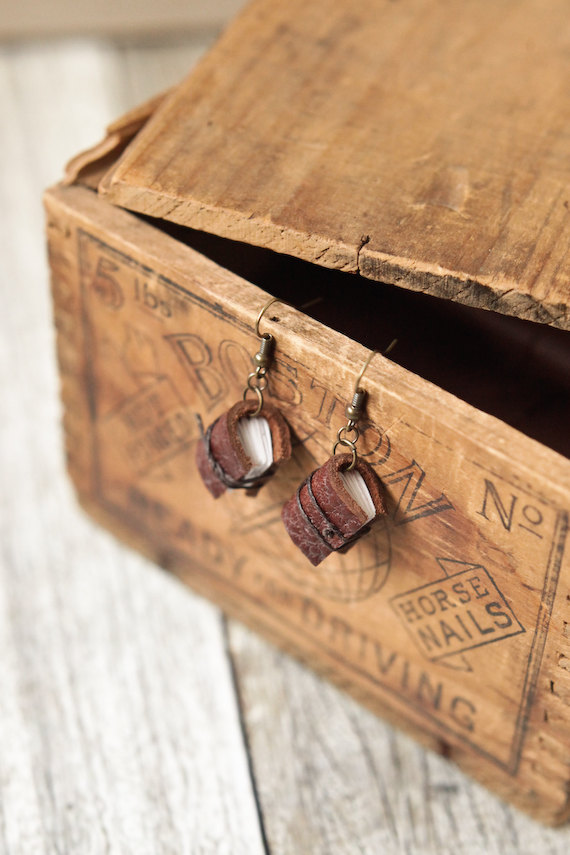 Rustic Mini Leather Journal Earrings – Handmade Book Jewelry by wayfaringart