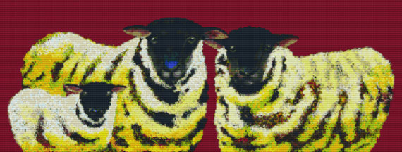 Modern Cross Stitch by Clara Nilles 'Lemon Sponge Cake Sheep on Merlot' cross stitch kit – Christmas Gift by GeckoRouge