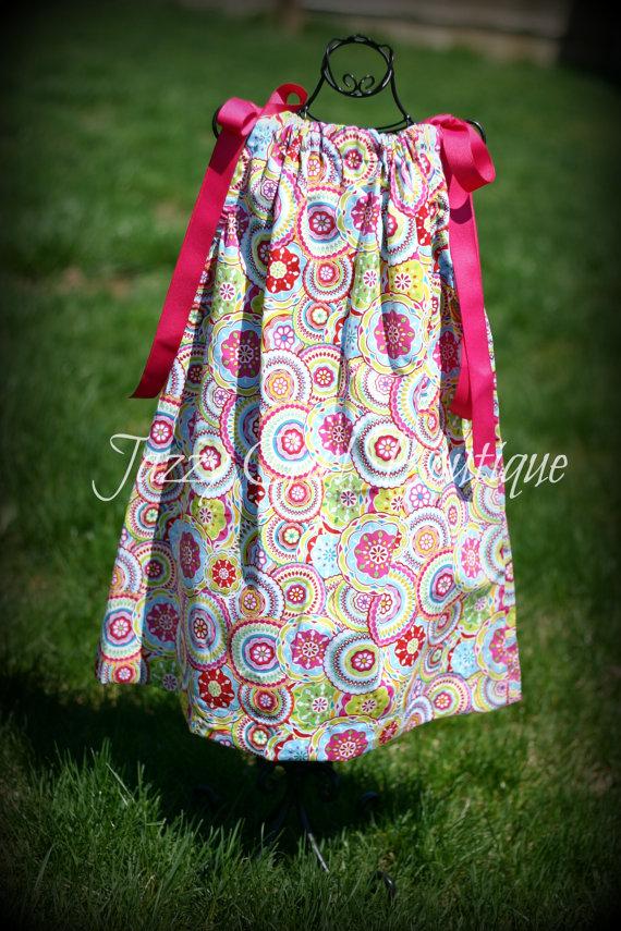 Girls Pillowcase Dress Bodilla Print with Fuschia Ribbon Ties Sz 6mo, 12mo, 18mo, 2T, 3T, 4T, 5 Sz 6, 7, 8 Three Dollars More by JazzyGirlBoutique