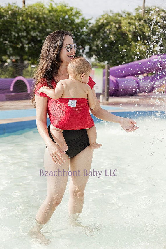 Beachfront Baby Wrap Carrier- water babywearing at the beach, pool, water park or in the shower- TROPICAL PUNCH Red by BeachfrontBaby