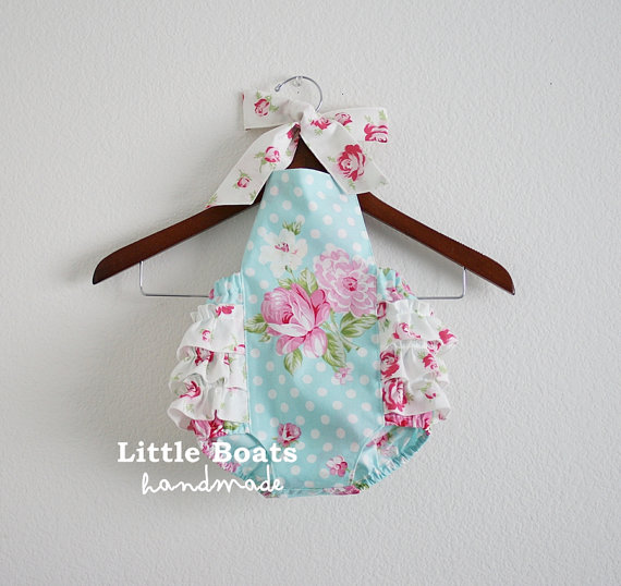 Sweet Rose Retro Style Sunsuit Romper / Size NB, 0-3m, 3-6m, 6-12m, 12-18m and 18-24m by xxLittleBoatsxx