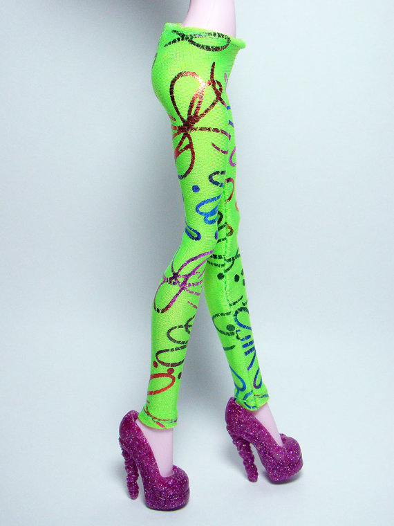 Lime green with multi colour metalic print leggings by girlplanet
