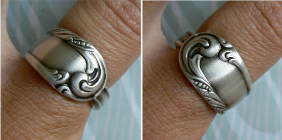 Antique Spoon Ring, Silver Pattern: Love Song pattern from 1950 by Revisions