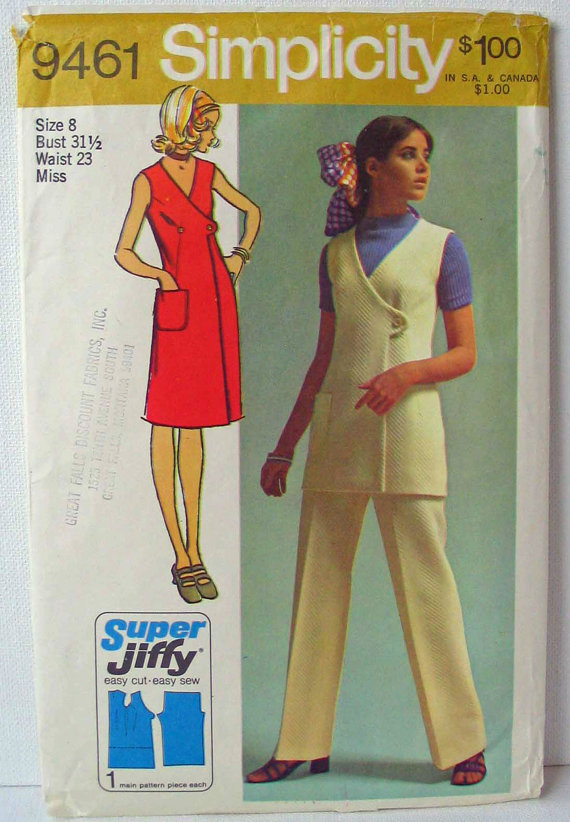 Simplicity 9461 60s Jiffy Wrap Dress, Wrap Vest, Elastic Waist Pants Size 8 Bust 31-1 / 2 & quot; by PassingFair