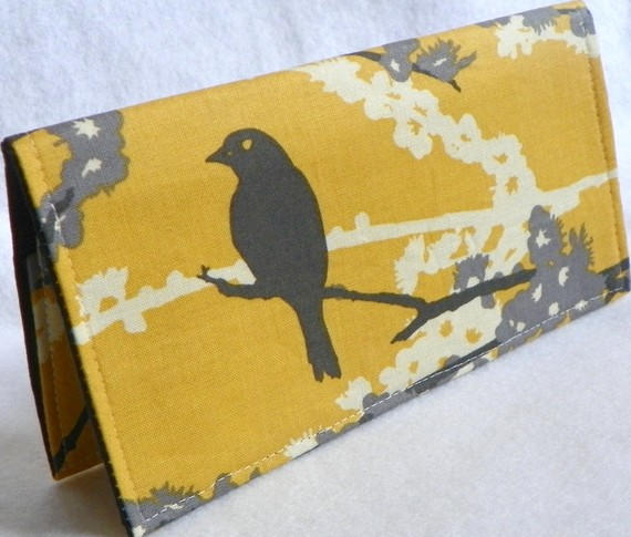 Sparrows in Vintage Yellow Handmade Vegan checkbook cover / wallet Aviary 2 by FaithOnEarth