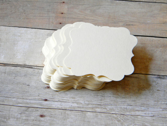 DIY Wedding Ivory Fancy Bracket Placecards, Escort Cards, Buffet Table Cards Set of 70 by TheKraftRoom