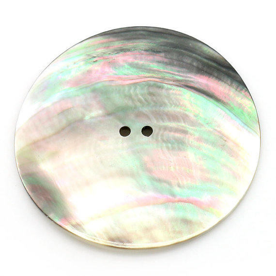 Big 2 inch Akoya Shell Buttons Round 5cm 50mm Mother of Pearl – 2 pcs by lenabrowndesigns