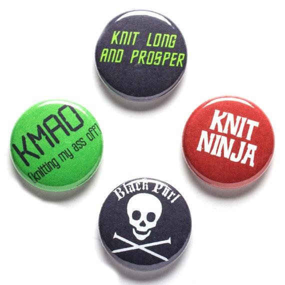 Knitter Theme Buttons, 1 inch pin back, Knit Ninja, Set of 4 by beckarahn