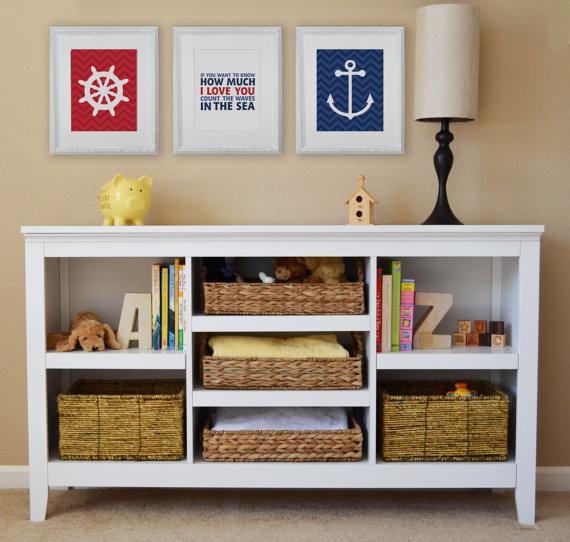 Nautical, Ocean, Modern Art Prints, Typography, Nursery wall decor, Kids Wall Art- Set of three prints by FieldandFlower